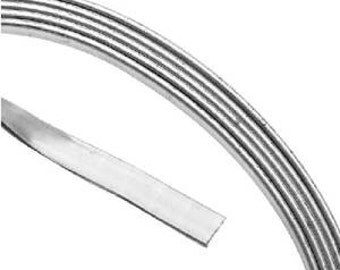 Artistic Wire Flat Wire, 21 Gauge Thick, 3 Foot Coil, Tarnish Resistant Silver Plated