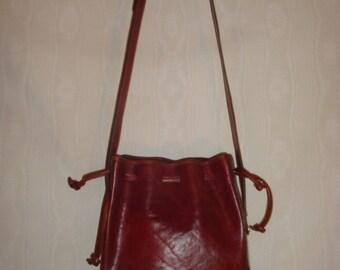 Brown Leather Oroton Drawstring Cross Body Bag