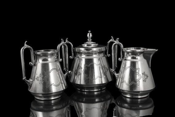 Silverplate Sugar Bowl, Creamer and Waste Bowl Wilcox Silverplate Co.