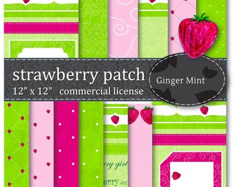Strawberry Patch Digital Paper - Coupons available