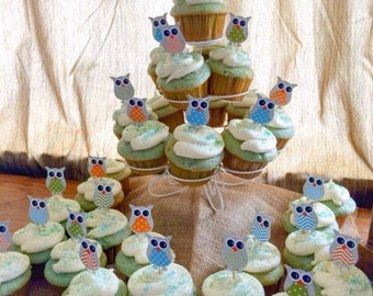 24 owl cupcake toppers