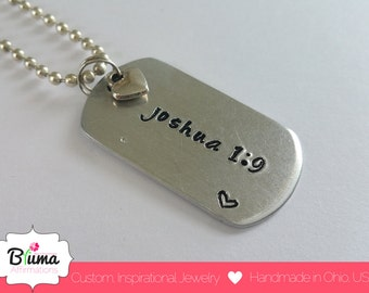 Scripture Dog Tag Necklace, Hand Stamped Scripture Necklace, Personalized Bible Verse Necklace for Women, Joshua 1:9