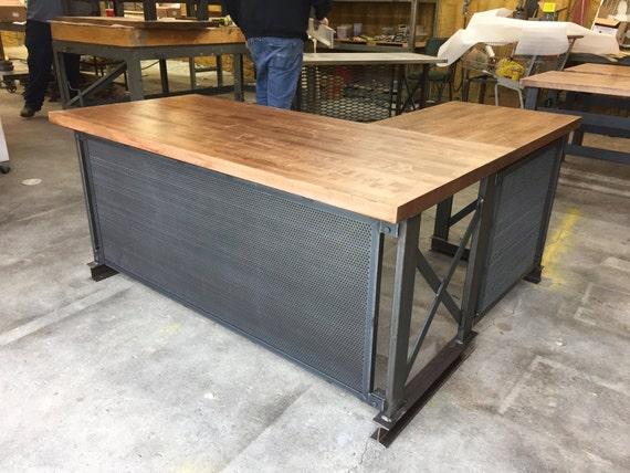 the industrial l shape carruca office desk large by ironageoffice. Black Bedroom Furniture Sets. Home Design Ideas
