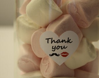 40 Heart Shaped Fun Moustache & Lips Wedding Thank You Stickers (138-01)