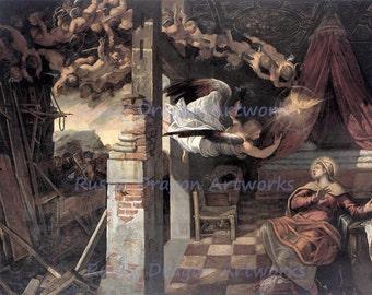 "Zwiastowanie Tintoretta ""The Annunciation"" 1587 Reproduction Digital Print Angels Dove Spirituality Wall Hanging"