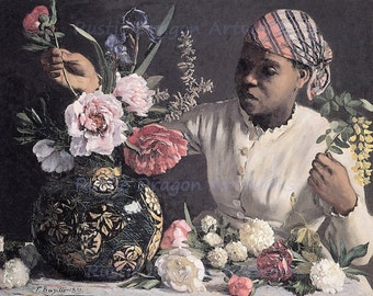 """Frederic Bazille """"Girl with Peonies"""" 1870 Reproduction Digital Print Girl Arranging Flowers"""