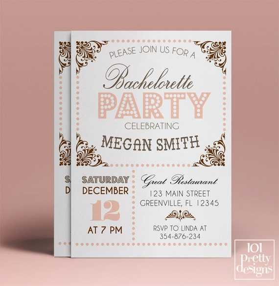 bachelorette party invitation template printable bachelorette invitation design vintage. Black Bedroom Furniture Sets. Home Design Ideas