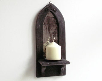 Gothic Mirror Candle Holder Shelf, Wall Candle Holder, Wall Mirror Shelf, Gothic Arch Mirror, Distressed Mirror, Church Candle Holder.