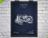 1919 Henry Ford Tractor Patent Poster, Patent Art Print, Patent Print, Blueprint, Wall Art, Home Decor, Gift Idea