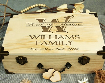 Alternative Wedding Guest Book, Custom Wedding Box, Personalized Wooden Keepsake Box, Memorable Anniversary-Birthday gift, Wooden Hearts