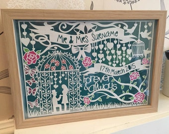 Personal use - with details - Hand drawn wedding or anniversary papercut template