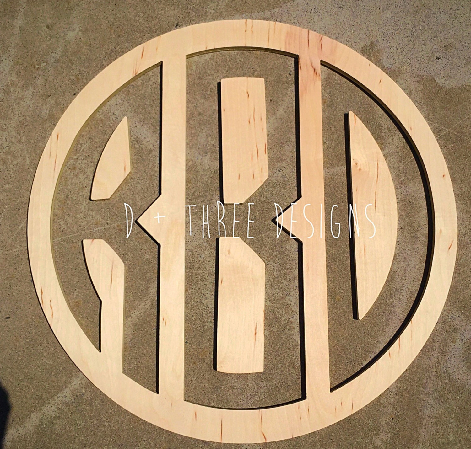 24 inch wooden circle monogram reverse cut out wooden for Monogram homes