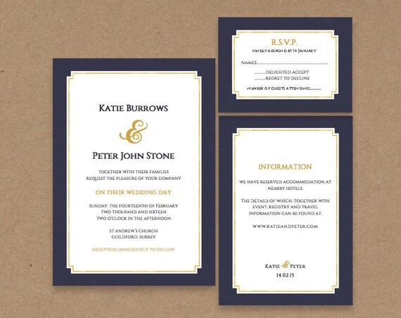 Dark Blue Wedding Invitations: Printable Wedding Invitation Dark Blue And Gold By