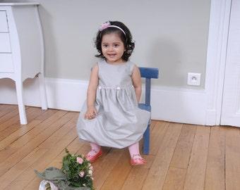 Baby cerimonial  bubble dress in grey