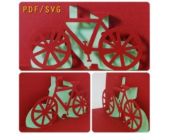 Templates PDF & SVG easy DIY for Bike 3D pop up card