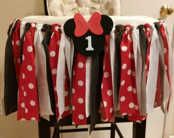 Red Minnie Mouse Fabric High Chair Banner