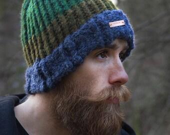 Merino & alpaca wool hand knit hat, green, blue and ochre hat, knitted beanie, hand knit wool hat, woolly beanie, Fernweh UK NEVIS hat,