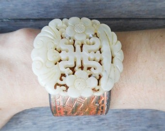 Orange Gold Brown Ivory Chinese Hand-Carved Floral Bat Jade Pendant Upcycled Leather Cuff Bracelet