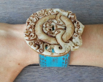 Turquoise Ivory Brown Chinese Hand-Carved Jade Dragon Pendant Upcycled Leather Cuff Bracelet