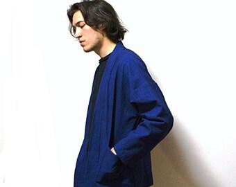 Shibori/Kimono jackets/Coats/Cotton Fabric/Adult/Blue/Indigo/Vintage/Natural hand dyed/Plant dyes/Clothing/Japanese/Tie dye/China/Thealese