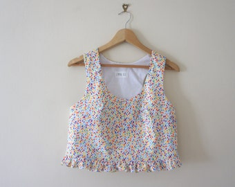 Raindrop Summer Crop Top with Frill and Racer Back