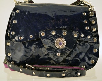 Celtic Style Blue Patent Leather Pouch