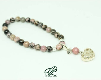 Bracelet of rhodonite with heart of silver, collection Kokoro