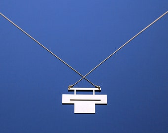 Cut It necklace // Long Geometric Necklace, Signature Necklace, Architectural jewelry // Geometric Jewelry // Brass Pendant