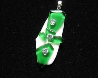 Art Glass Green and White Pendant,  Glass Art Cross Rhinestone Pendant, Fused Art Glass Rhinestone Jewelry, Fused Glass Crucifix Jewelry