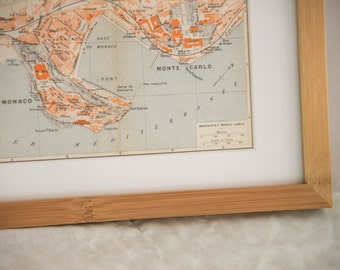 Framed 1926 Monaco and Monte Carlo Antique Map