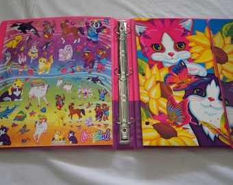 Vintage 1990's - Lisa Frank Cats Binder With Folder and Original Stickers