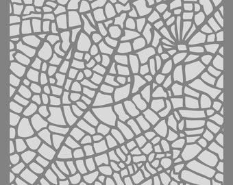leaf veins on 6x6 stencil