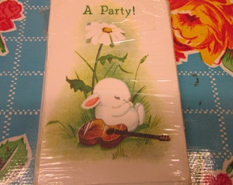 Vintage party invitation set by Rust Craft, cute rabbit with guitar