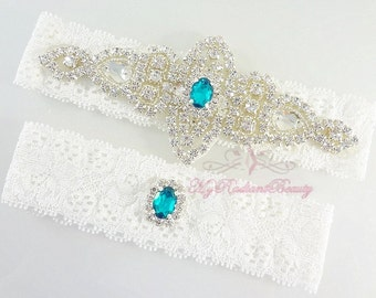 Bridal Garter, Wedding Garter Set, Crystal Applique Garter, Turquoise Rhinestone Garter, Handmade Custom Garter, Beaded Garter GTA0056T