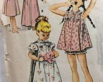 McCall's 4170 vintage 1950's girl's nightgown, shortie gown and panties sewing pattern size 8
