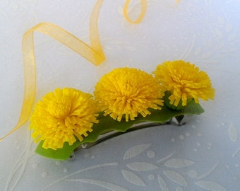 "Hair clip ""Dandelions""-Flower jewelry-Yellow flower jewelry - Clay flower hair clip"