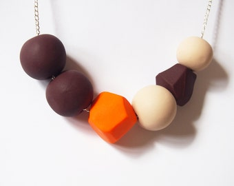 Large Beads Necklace ( beaded necklace, asymmetrical jewelry, statement necklace, brown necklace, orange necklace, polymer clay jewelry )