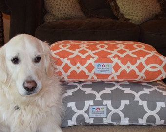 Mia Dog Bed *** Small  *** Orange Tangerine *** Embroider with your Pets Name  ***Modern Lattice Design Cover  *** Custom *** TSD