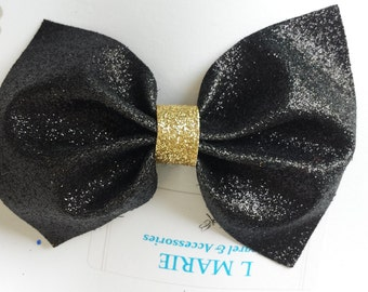 Glitter Hair Bow clip Black and Gold