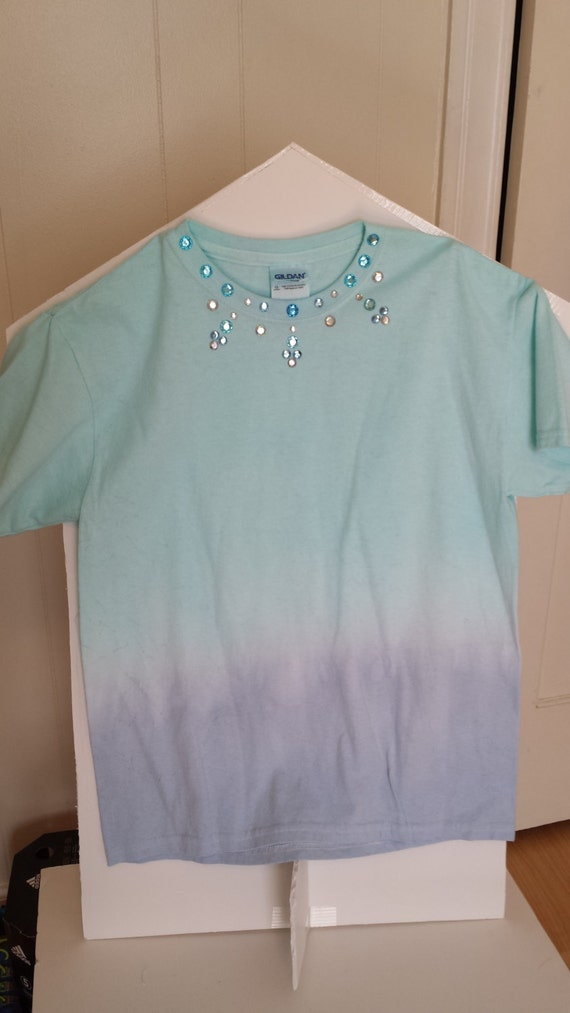 Turquoise blue ombre girls t shirt youth size l by for Aqua blue color t shirt