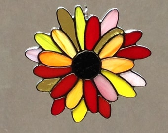 Stained Glass Multicolor Daisy Suncatcher