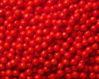 "Red Sugar Pearls  ""Cake/Cupcake/Cookie Decorations"""