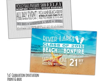 Beach and Bonfire Graduation Announcement & Graduation Party Invitation - Customized for you! 5x7 Both Sides.Printable or Printed.