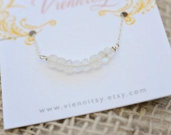 April Birthstone Necklace; April Necklace; April Birthstone Jewelry; Quartz Necklace; Clear Quartz Bar Necklace; Simple Quartz Necklace