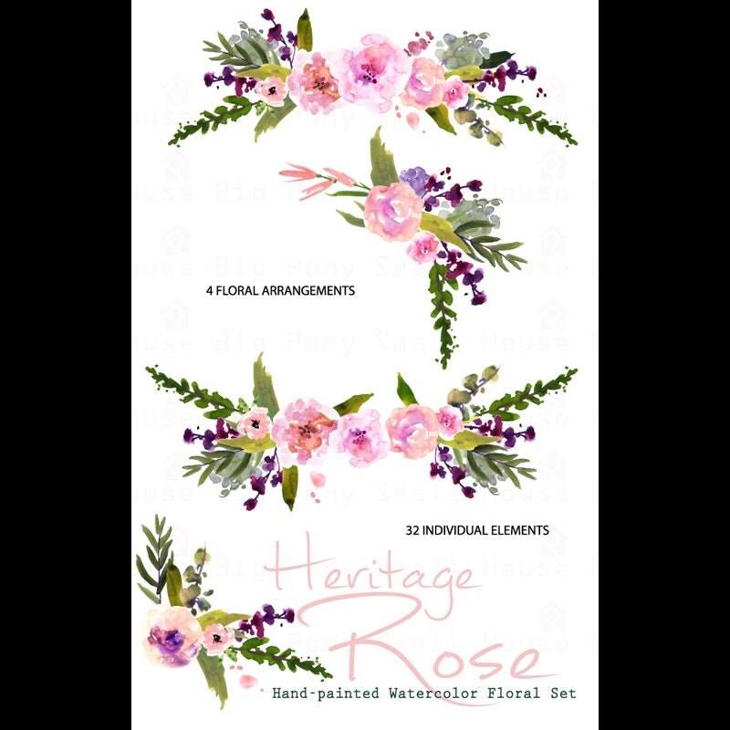 32 Best Compliments Of Purple Images On Pinterest: Watercolour Floral Clipart: Pastel Roses Watercolour Clip