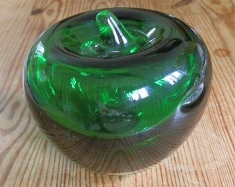 Vintage Green Glass Apple Paperweight