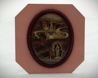 Small domed shrine Lourdes. Memory of Lourdes. Pious image of Lourdes colorized on base metal. French vintage. 40's