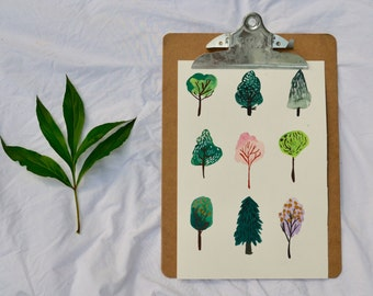THE FOREST watercolor 8.5x11 print forest trees nature green for your home