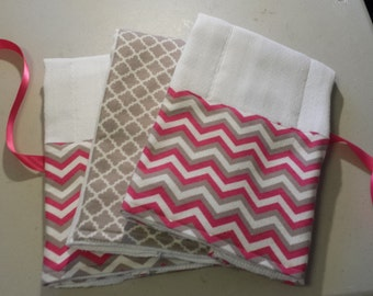 Bundle of Three Burp Cloths 100% Cotton Prefold Diaper