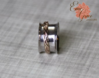 Sterling Silver Spinner Ring, Gold Filled Patterned Inner Band